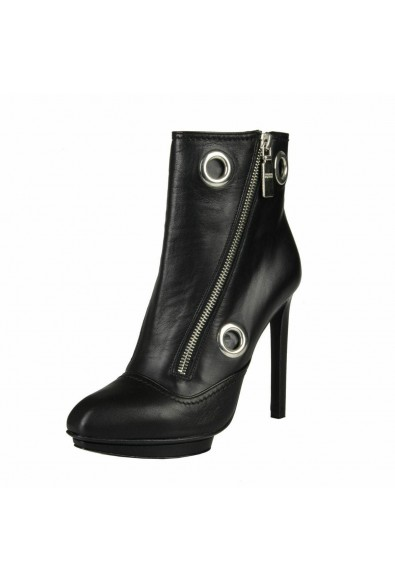Alexander Mcqueen Women's Black Leather High Heel Ankle Boots Shoes