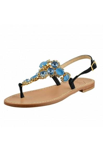 "Emanuela Caruso ""Capri"" Women's Stones Decorated Flat Sandals Shoes"