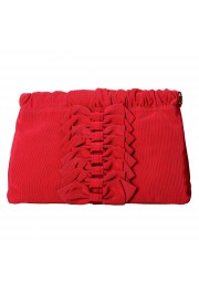 Red Valentino Women's True Red Canvas Bows Decorated Clutch Bag