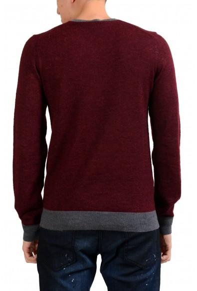 Armani Collezioni Men's Wool Mohair Burgundy V-Neck Sweater: Picture 2