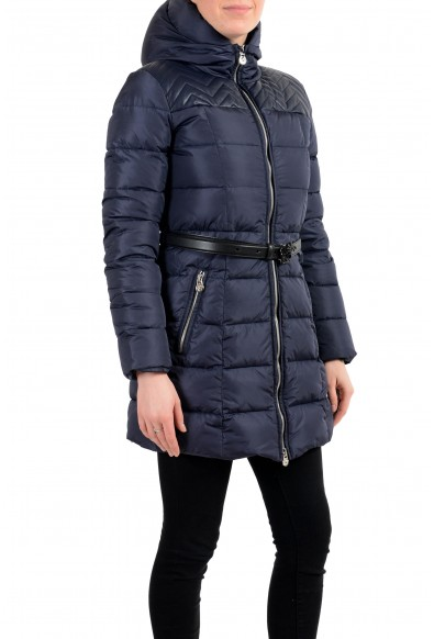 Versace Women's Blue Zip Up Hooded Belted Parka Jacket Coat: Picture 2