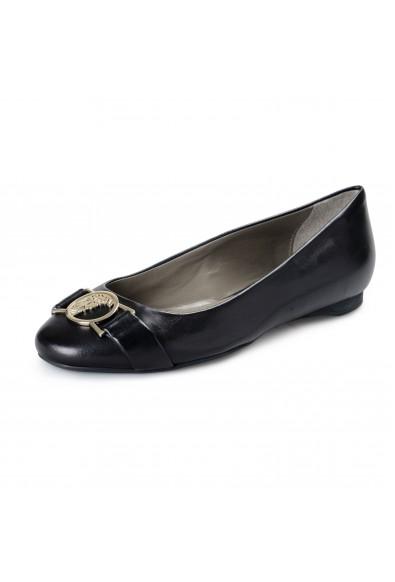 Versace Collection Women's Black Leather Ballets Flat Shoes