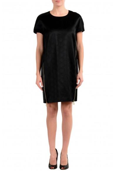 Versace Women's Black Short Sleeve Zip Designed Tunic Dress