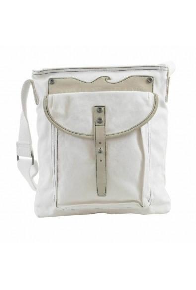Armani Jeans Unisex White Leather Trimmed Cross Body Messenger Bag