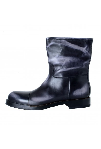 Prada Men's Distressed Gray Leather Motorcycle Boots Shoes: Picture 2