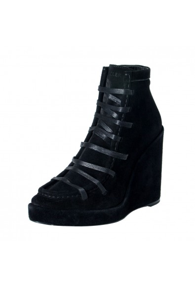 """Moncler Women's """"SUZANNE"""" Black Suede Leather Wedge Ankle Boots Shoes"""