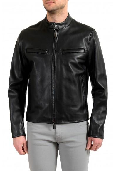 """Hugo Boss Men's """"Nepas_PS"""" 100% Leather Black Bomber Jacket"""