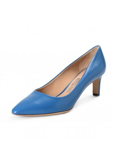 Salvatore Ferragamo Women's Flora Blue Leather High Heel Pumps Shoes