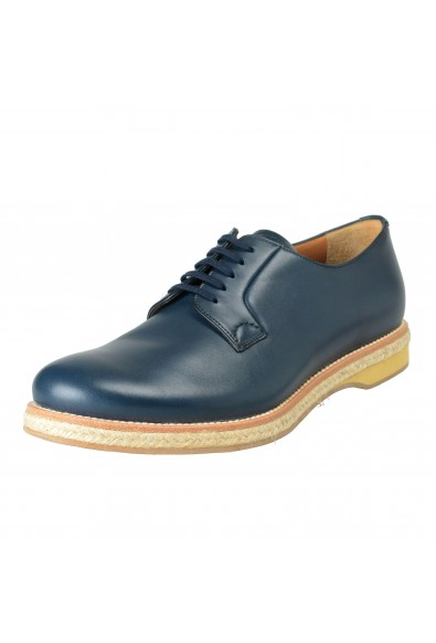 Prada Men's Blue Leather Casual Lace Up Oxfords Shoes