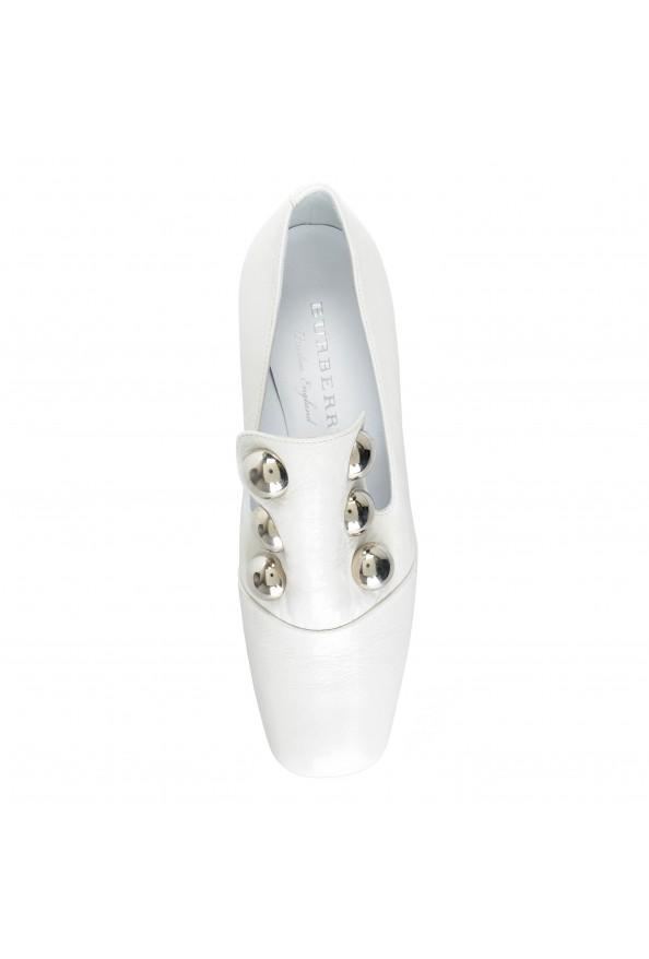 Burberry London Women's AMBRIDGE White Leather Heeled Pumps Shoes: Picture 3