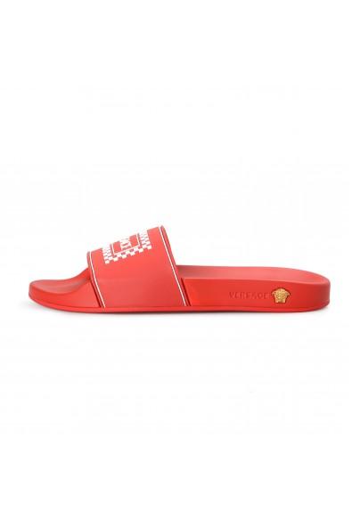 Versace Men's Bright Red Logo Print Rubber Flip Flops Shoes: Picture 2