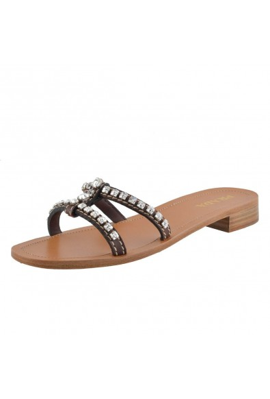 Prada Women's Leather Crystal Decorated Flip Flop Shoes