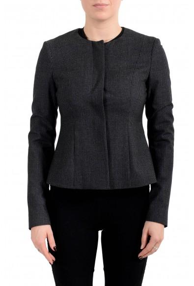 "Hugo Boss Women's ""Javilla"" 100% Wool Plaid Button Down Blazer"