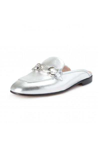 "Salvatore Ferragamo Women's ""GIRL"" Silver Leather Flat Slides Shoes"