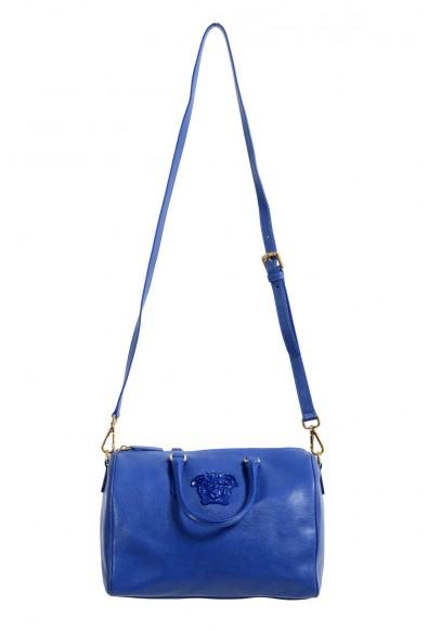 Versace Women's Blue Saffiano Leather Satchel Handbag Shoulder Bag