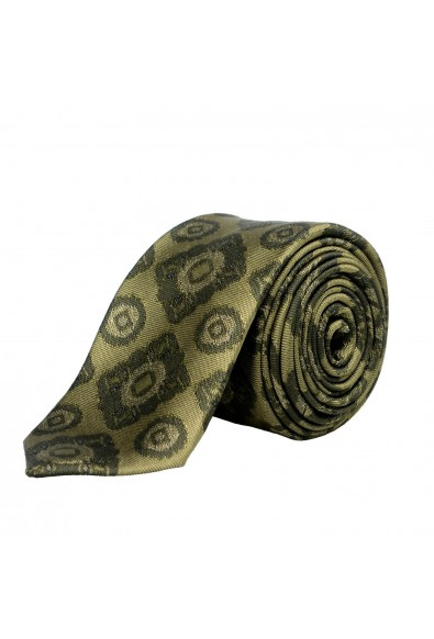 Burberry Men's 100% Silk Dark Green Jacquard Tie
