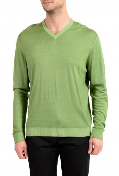 Kiton Men's Green Silk Cashmere V-Neck Pullover Sweater