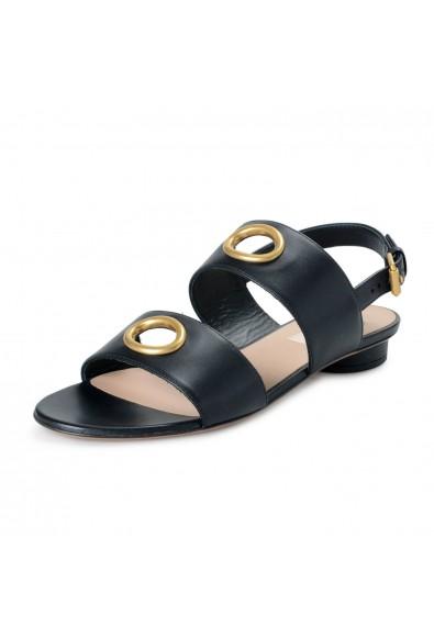 Valentino Garavani Women's Black Leather Flat Sandals Shoes