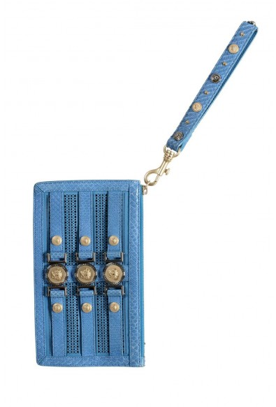 Versace 100% Leather Blue Women's Wristlet Clutch