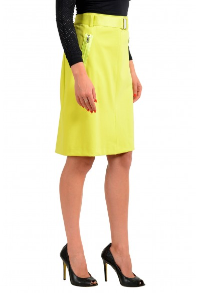 """Hugo Boss Women's """"Ralinas"""" Lime Green Belted A-Line Skirt: Picture 2"""