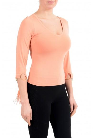 Roberto Cavalli Women's Orange V-Neck 3/4 Sleeve Stretch Blouse Top: Picture 2