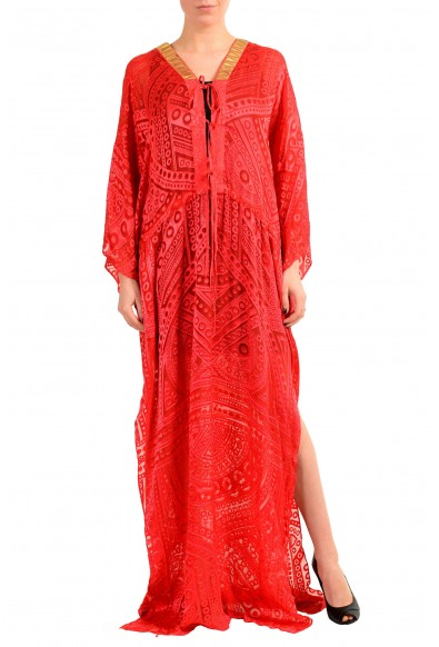 Just Cavalli Silk Red Beads Decorated Women's Maxi Dress: Picture 2