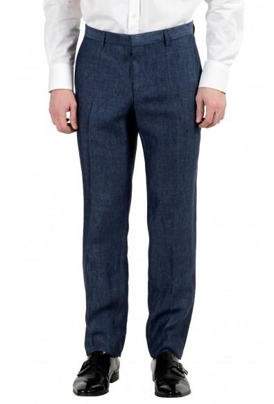 "Hugo Boss ""Harvey/Getlin182H1"" Men's 100% Linen Slim Blue Two Button Suit"