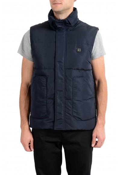 Roberto Cavalli Men's Duck Down Navy Blue Full Zip Vest