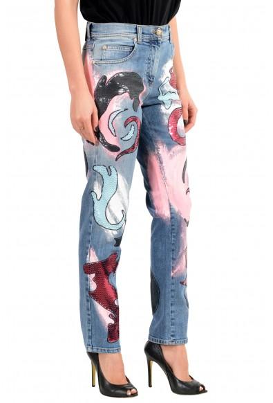 Versace Women's Blue Embellished Denim Skinny Leg Jeans: Picture 2