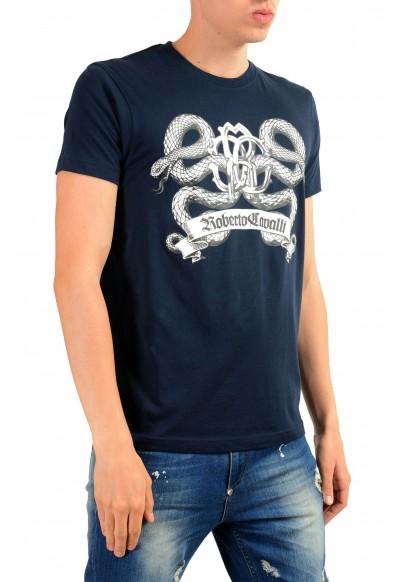 Roberto Cavalli Men's Blue Graphic Print T-Shirt: Picture 2