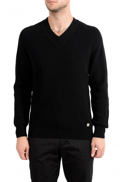 Versace Collection Men's 100% Wool Black V-Neck Sweater