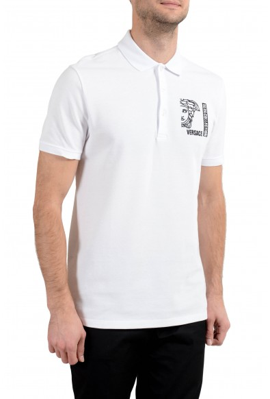 Versace Collection Men's White Logo Short Sleeve Polo Shirt: Picture 2
