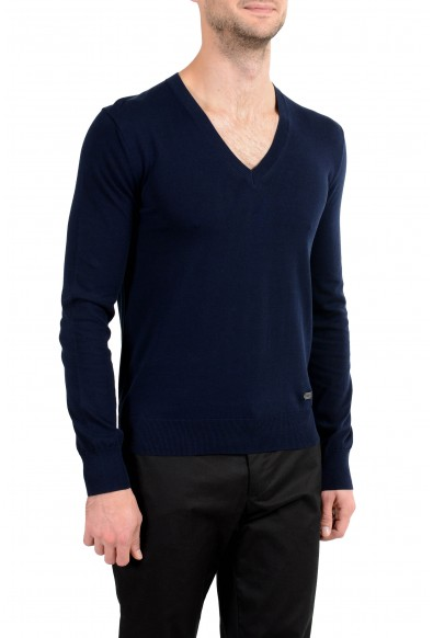 Burberry Men's Navy Blue V-Neck Sweater: Picture 2