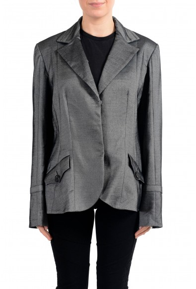John Galliano Women's Gray Wool Three Button Down Blazer
