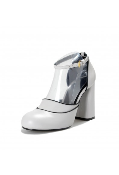 Marni Women's Gray Leather High Heel Mary Jane Pumps Shoes