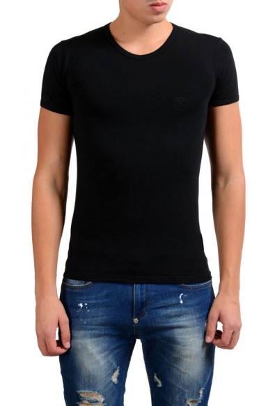 Versace Collection Men's Black Stretch V-Neck Short Sleeve T-Shirt