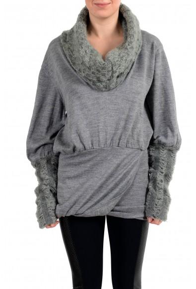Exte Women's Gray Wool Mockneck Pullover Sweater