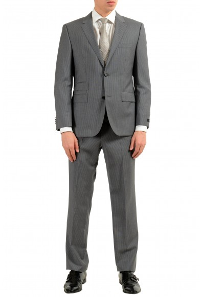 """Hugo Boss """"Kings/Central_1"""" Men's 100% Wool Striped Gray Two Button Suit"""