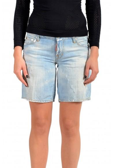 Dsquared2 Women's Light Wash Denim Linen Distressed Bermuda Shorts