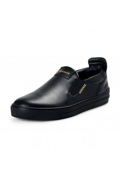 Versace Men's Black Leather Slip On Moccasins Loafer Shoes