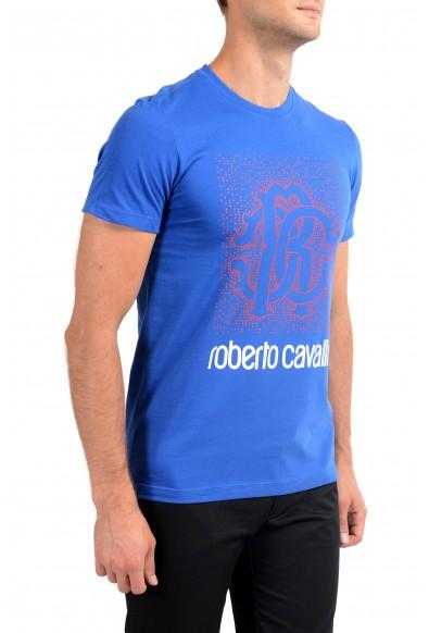 Roberto Cavalli Men's Royal Blue Graphic Print T-Shirt: Picture 2