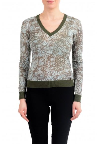 John Galliano Women's Multi-Color 100% Wool V-Neck Sweater