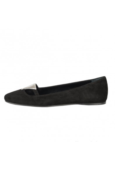 Prada Black Suede Leather Ballet Flats Shoes : Picture 2