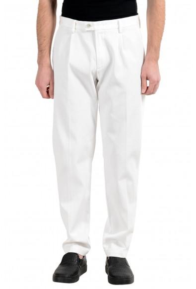 "Hugo Boss ""Riko-Pleats"" Men's White Stretch Casual Pants"