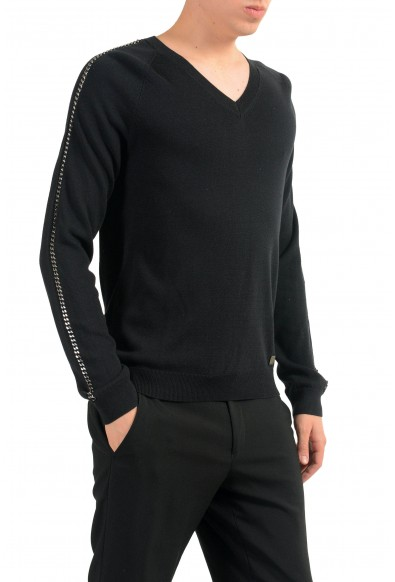 Versace Collection Men's Black V-Neck Chain Trimmed Sweater: Picture 2