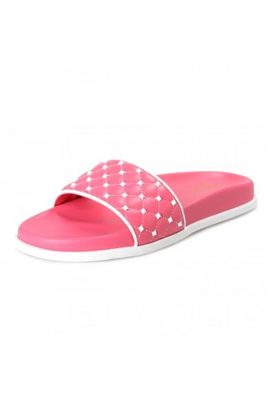 Valentino Women's Pink Leather Rockstud Flip Flops Sandals Shoes