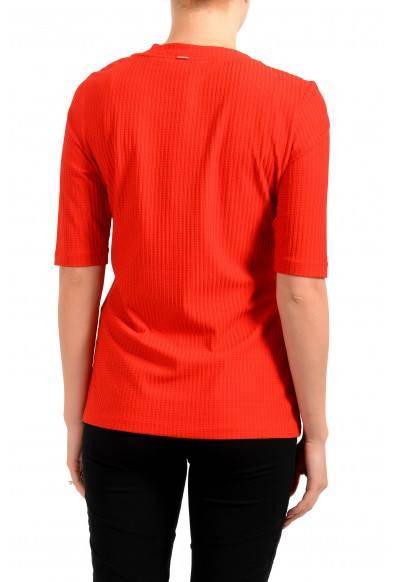 """Hugo Boss Women's """"Eodara"""" Red Stretch Short Sleeve Blouse Top: Picture 2"""