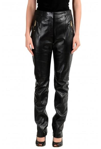 Versace Women's Black 100% Leather Pants