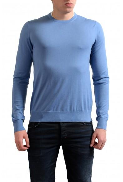 Prada Men's 100% Wool Light Blue Crewneck Pullover Sweater