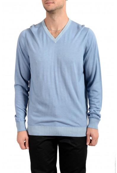 Kiton Napoli Men's Blue V-Neck 100% Cashmere Pullover Sweater